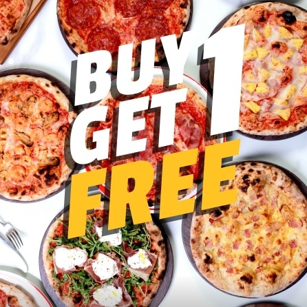 Buy 1 Get 1 Free PIZZA - Only 300 THB