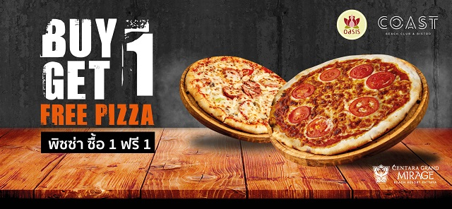 Buy 1 Get 1 Free PIZZA - Only 450 THB